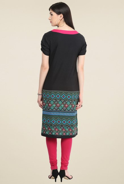 Pannkh Black Regular Fit Printed Kurti