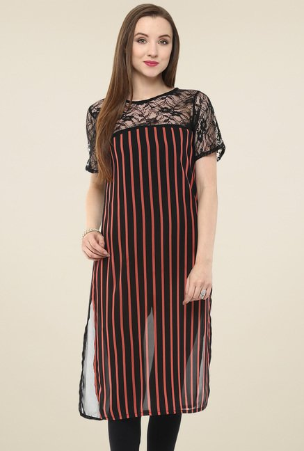 Pannkh Black Striped Lace Kurti