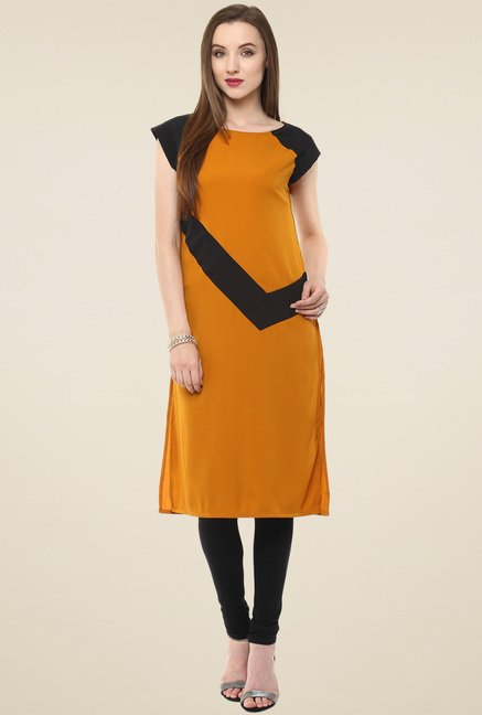 Pannkh Mustard & Black Regular Fit Kurti