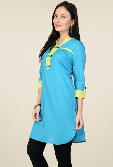 Pannkh Blue Regular Fit 3/4th Sleeves Kurti