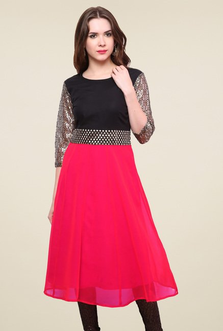 Pannkh Fuchsia Regular Fit Kurti