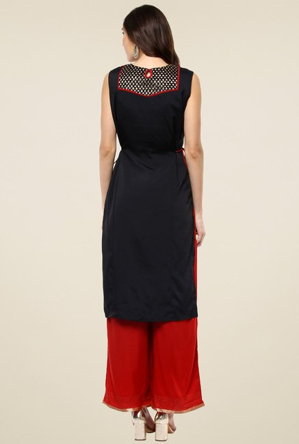 Pannkh Black Round Neck Sleeveless Kurti