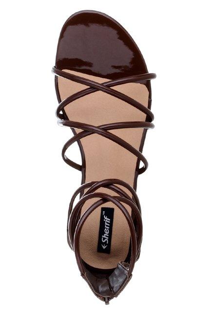 cfd756fbcb98 Buy Sherrif Shoes Dark Brown Gladiator Sandals for Women at Best ...