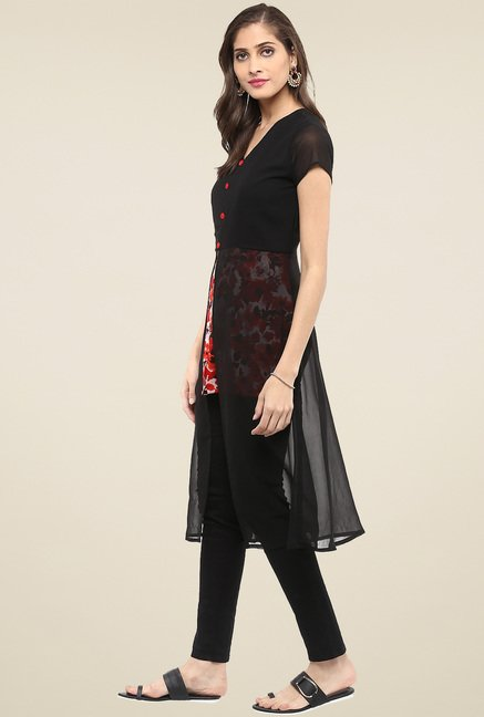 Pannkh Black Short Sleeves Regular Fit V-Neck Kurti