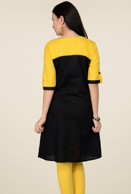 Pannkh Black & Yellow Regular Fit Cotton Kurti