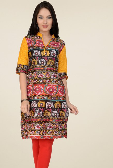 Pannkh Multicolor Regular Fit Printed Kurti
