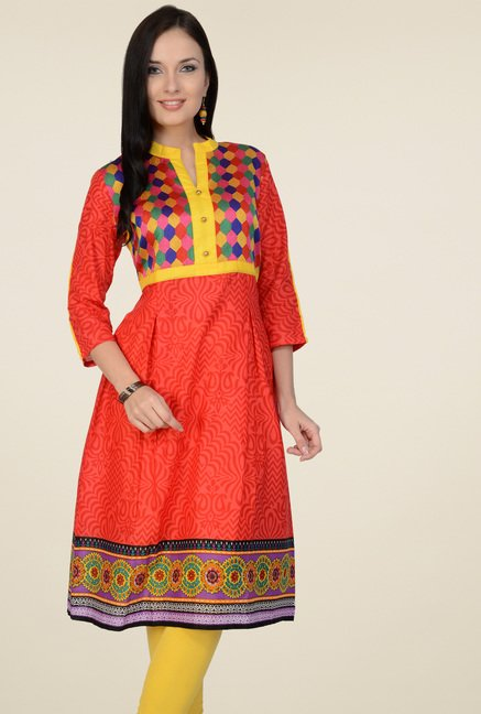 Pannkh Red 3/4th Sleeves Printed Kurti