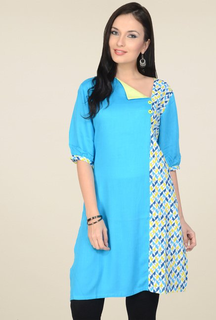 Pannkh Sky Blue 3/4th Sleeves Printed Kurti