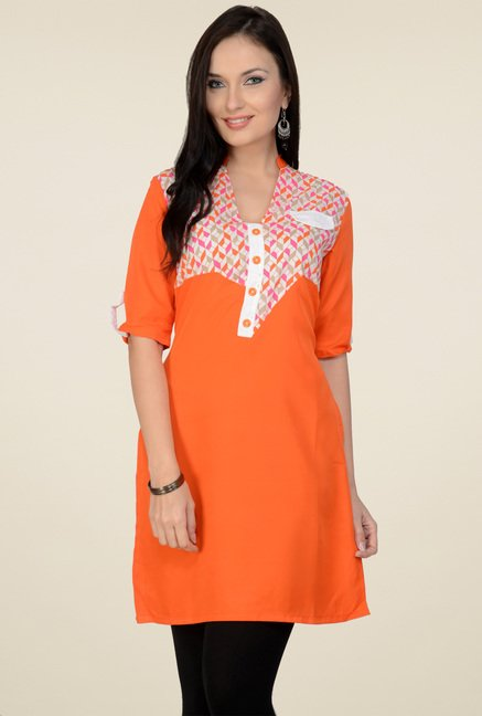 Pannkh Orange Regular Fit Cotton Printed Kurti