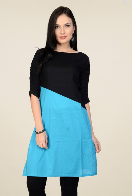 Pannkh Black & Blue 3/4th Sleeves Cotton Kurti