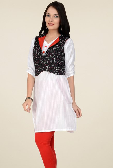Pannkh Off-White Regular Fit V-Neck Kurti