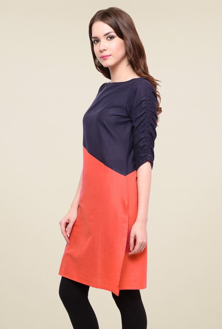 Pannkh Navy & Orange Cotton Regular Fit Kurti