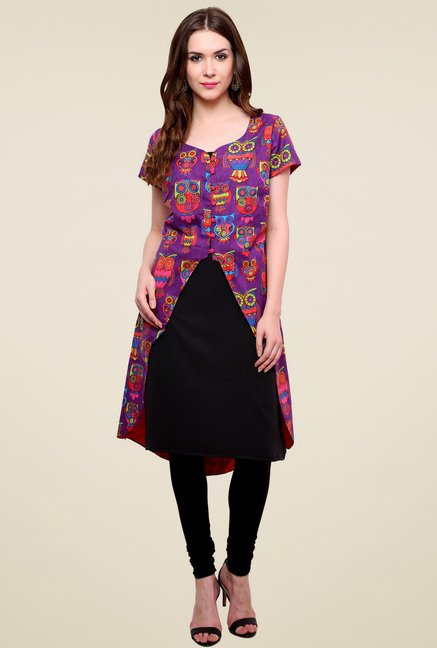 Pannkh Purple Printed Cotton Kurti