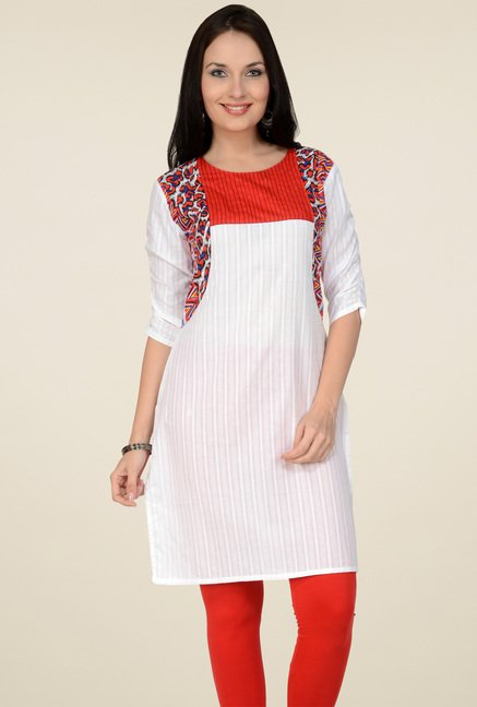 Pannkh White 3/4th Sleeves Printed Kurti