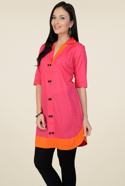 Pannkh Peach 3/4th Sleeves Kurti