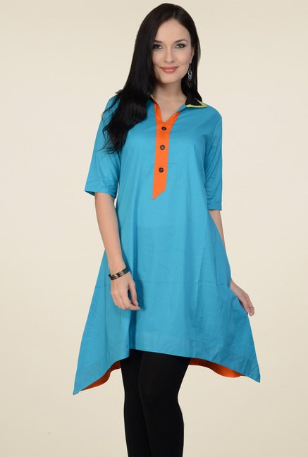 Pannkh Blue 3/4th Sleeves Cotton Kurti