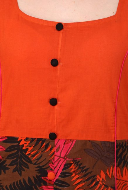 Pannkh Orange Printed Kurti