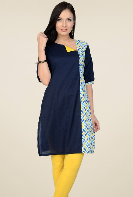 Pannkh Navy Elbow Sleeves Kurti