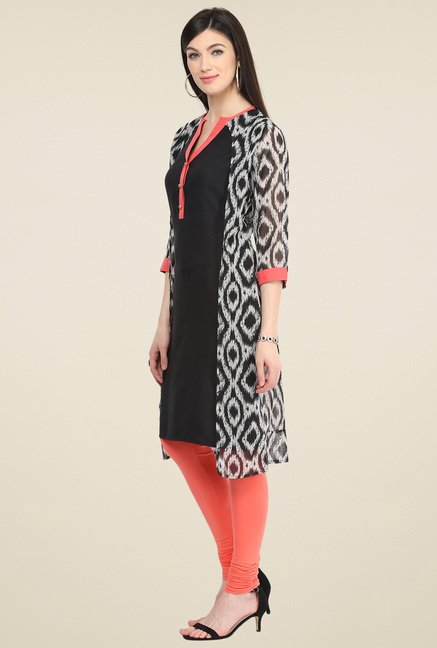 Pannkh Black V-Neck Regular Fit Kurti