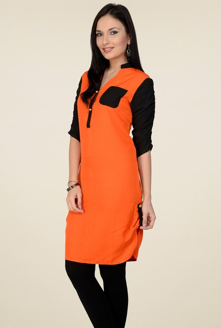 Pannkh Orange Mandarin Collar Regular Fit Kurti