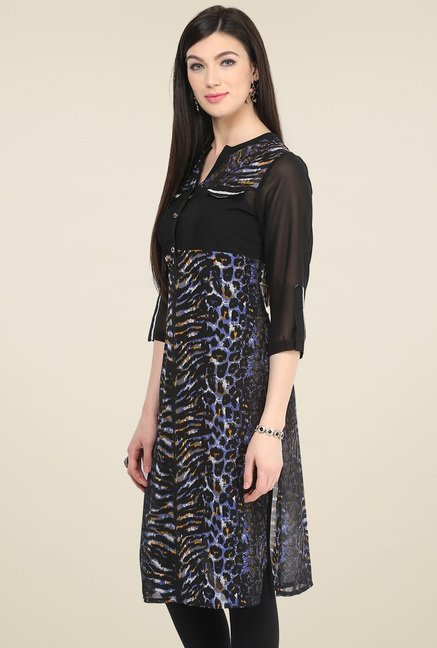 Pannkh Black Printed V-Neck Kurti