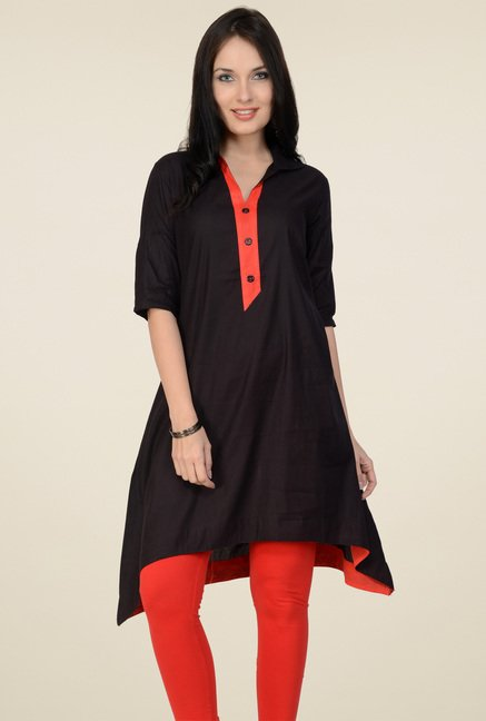 Pannkh Black V-Neck Cotton Kurti