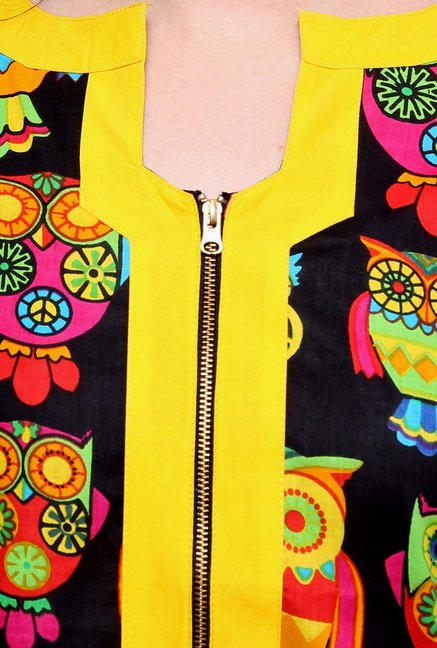Pannkh Black & Yellow Boat Neck Kurti