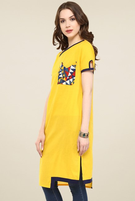 Pannkh Yellow Regular Fit Short Sleeves Kurti