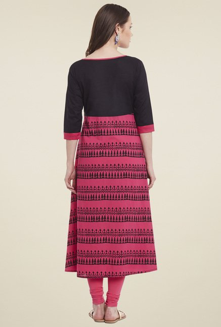 Pannkh Pink 3/4th Sleeves Kurta
