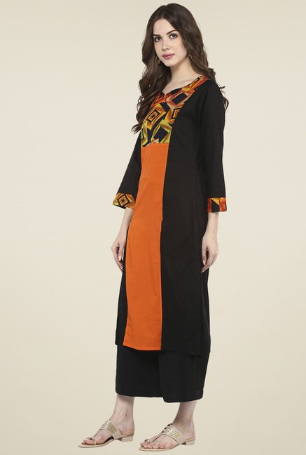 Pannkh Orange & Black Regular Fit Kurta