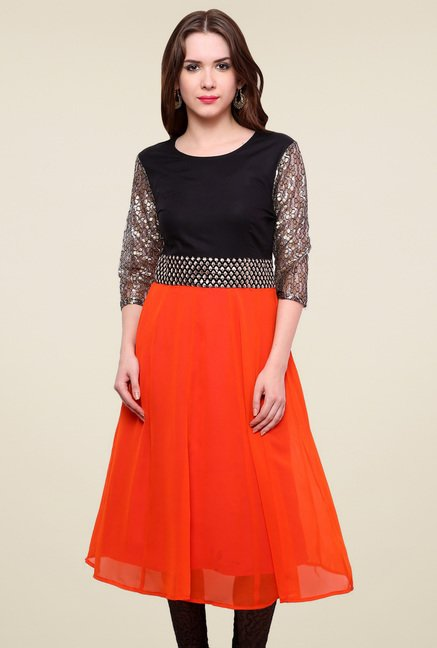 Pannkh Orange & Black Regular Fit Kurti