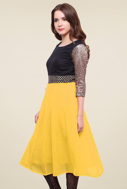 Pannkh Yellow & Black Regular Fit Kurti