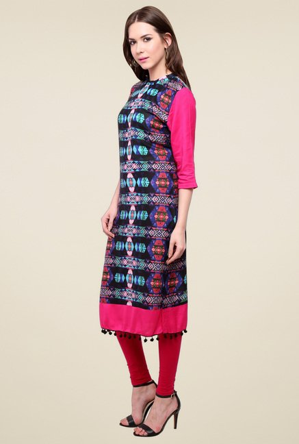 Pannkh Black & Pink High Neck Kurti