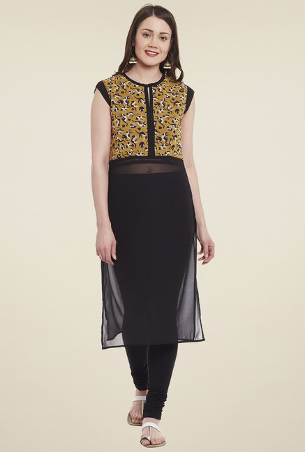 Pannkh Mustard & Black Sleeveless Kurta