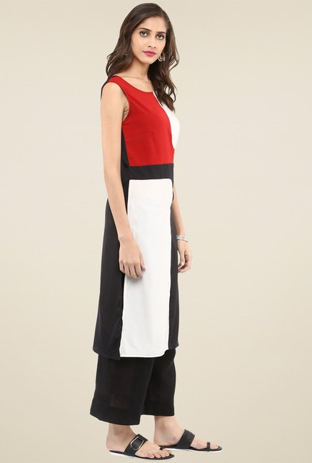 Pannkh Black & White Sleeveless Kurta