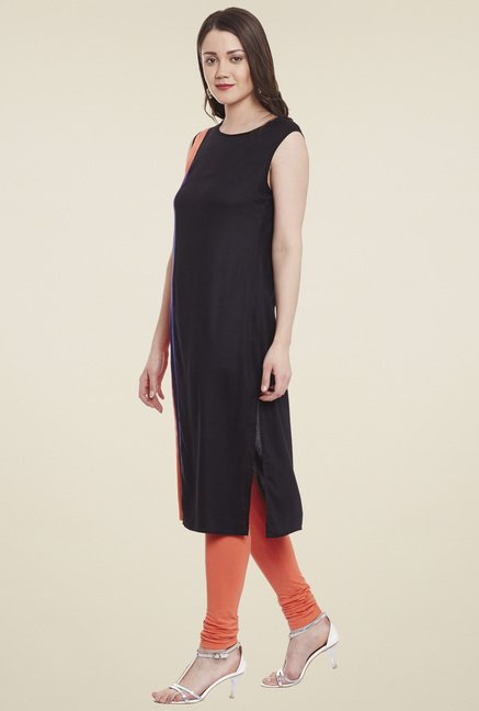 Pannkh Black & Peach Sleeveless Kurta
