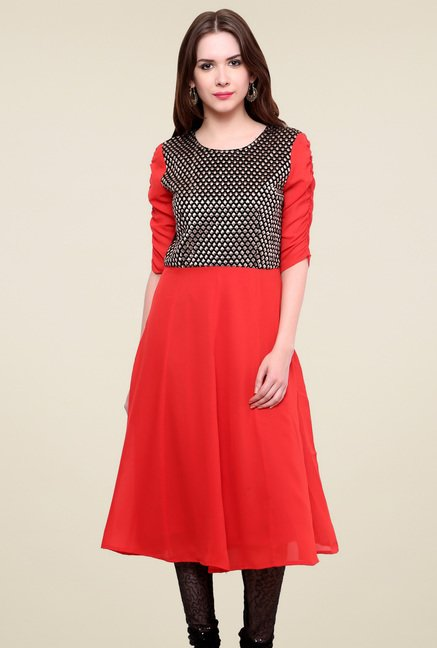 Pannkh Red Regular Fit Elbow Sleeves Kurti