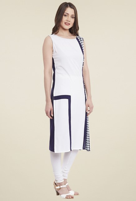 Pannkh White & Blue Round Neck Kurta
