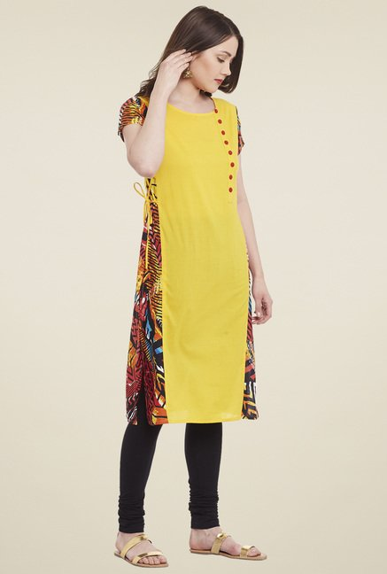 Pannkh Yellow Printed Short Sleeves Kurta