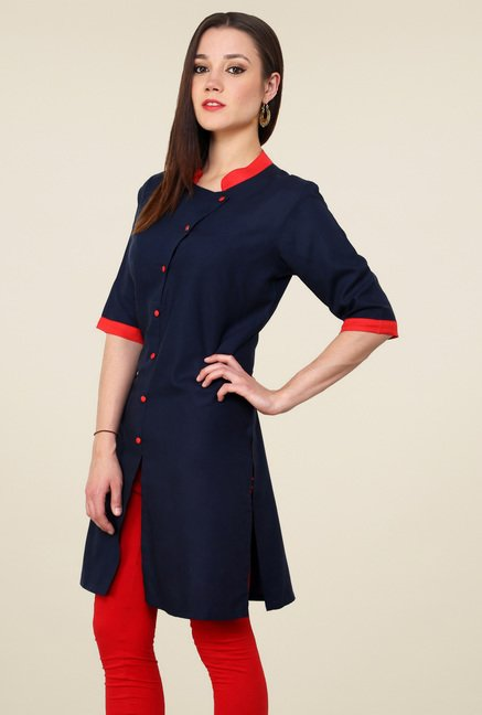 Pannkh Navy Regular Fit Elbow Sleeves Kurti