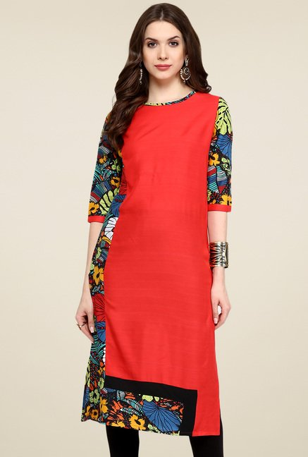 Pannkh Red Printed Regular Fit Round Neck Kurti
