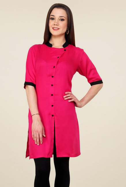 Pannkh Pink Regular Fit Band Neck Kurti