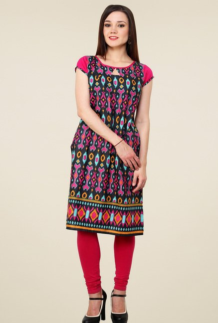 Pannkh Multicolor Cotton Short Sleeves Kurti