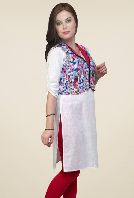 Pannkh Off-White Elbow Sleeves Kurti