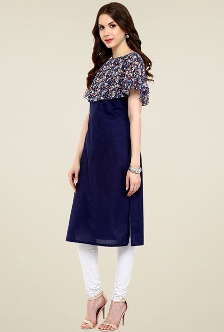 Pannkh Navy Sleeveless Regular Fit Kurti