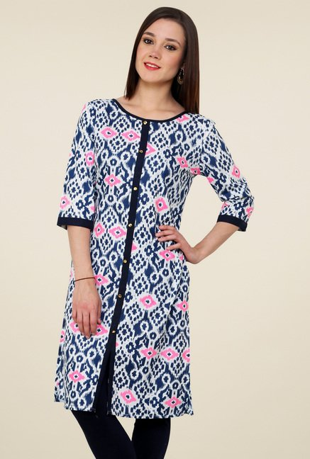 Pannkh Blue Printed Cotton Kurti