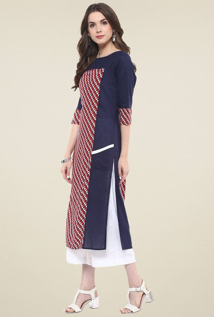 Pannkh Navy Regular Fit Kurti