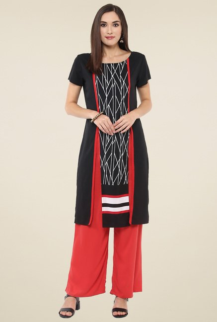 Pannkh Black Short Sleeves Printed Kurti