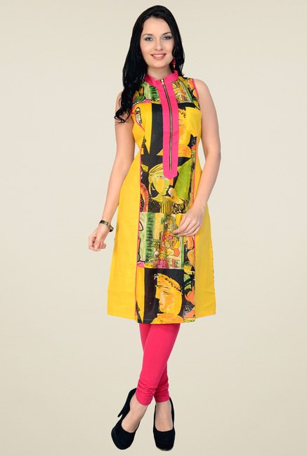 Pannkh Yellow Sleeveless Cotton Kurti