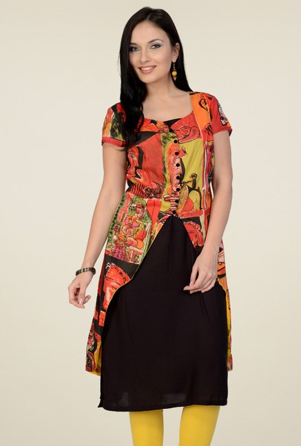 Pannkh Orange Regular Fit Printed Cotton Kurti